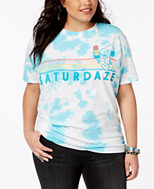 Hybrid Plus Size Cotton Tie-Dyed Snoopy Saturdaze T-Shirt