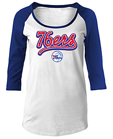 5th & Ocean Women's Philadelphia 76ers Glitter Raglan T-Shirt