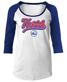 5th & Ocean Women's Philadelphia 76ers Glitter Raglan T-Shirt