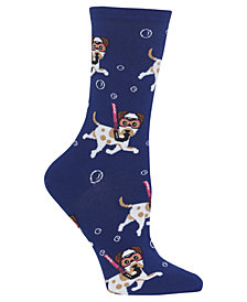Hot Sox Women's Snorkeling Dogs Crew Socks