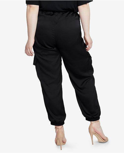 Cargo Pants Black Trendy Size Plus RACHEL Roy Rachel Satin nYqwORO0