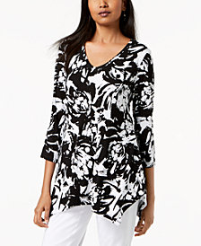 JM Collection Printed Asymmetrical-Hem T-Shirt, Created for Macy's