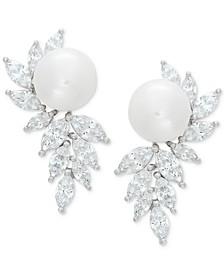 Cultured Freshwater Pearl (10mm) & Swarovski Zirconia Drop Earrings in Sterling Silver