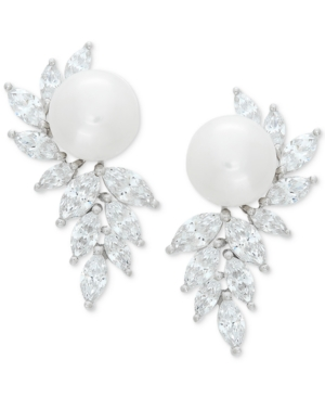 Cultured Freshwater Pearl (10mm) & Cubic Zirconia Drop Earrings in Sterling Silver