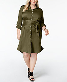 525 America Plus Size Sateen Shirtdress, Created for Macy's