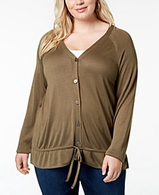 Plus Size Drawstring-Hem Cardigan
