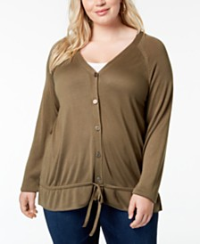 One A Plus Size Drawstring-Hem Cardigan