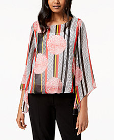 Alfani Petite Printed Angel-Sleeve Chiffon Top, Created for Macy's