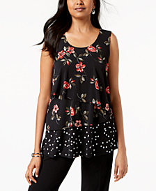 Alfani Printed Layered Sleeveless Top, Created for Macy's