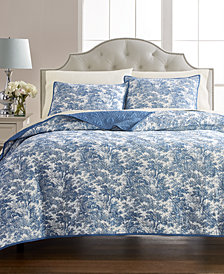 Martha Stewart Collection Forest Toile 100% Cotton  Reversible King Quilt, Created for Macy's