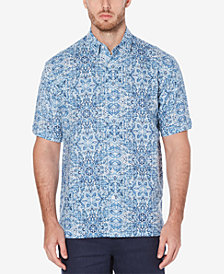 Cubavera Men's Linen Cotton Cuban Tile Inspired Short-Sleeve Print Shirt