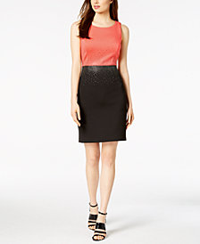 Calvin Klein Embellished Colorblocked Scuba Sheath Dress