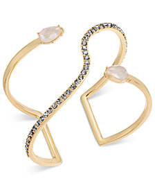 I.N.C. Gold-Tone Crystal & Imitation Pearl Open Cuff Bracelet, Created for Macy's
