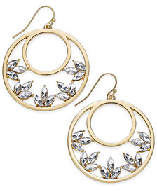 "I.N.C. Medium 1.5"" Gold-Tone Crystal Drop Hoop Earrings, Created for Macy's"