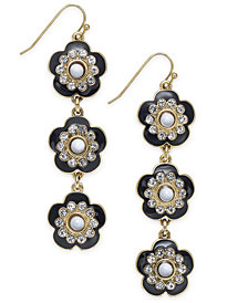 I.N.C. Gold-Tone Crystal & Stone Flower Linear Drop Earrings, Created for Macy's