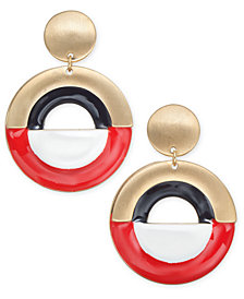 "I.N.C. Large 2"" Gold-Tone Colorblock Gypsy Hoop Earrings, Created for Macy's"