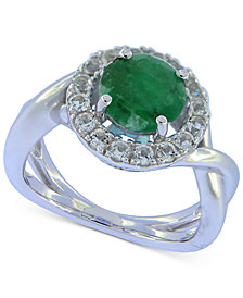 Emerald (2 ct. t.w.) & White Sapphire (1-1/2 ct. t.w.) Ring in Sterling Silver