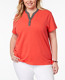 Tommy Hilfiger Plus Size Striped-Trim T-Shirt, Created for Macy's