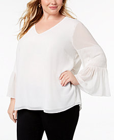 Calvin Klein Plus Size Pleated Bell-Sleeve Blouse