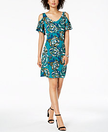 MSK Petite Printed Cold-Shoulder Dress