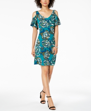 Msk Petite Printed Cold-Shoulder Dress