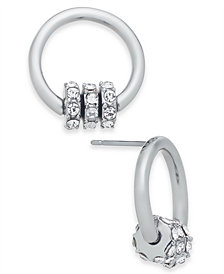 I.N.C. Silver-Tone Pavé Rondelle Bead & Circle Stud Earrings, Created for Macy's