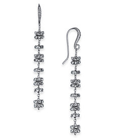I.N.C. Silver-Tone Pavé Rondelle Bead Linear Drop Earrings, Created for Macy's