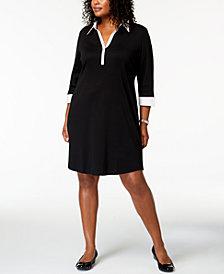 Karen Scott Plus Size 3/4-Sleeve Contrast Shirtdress, Created for Macy's