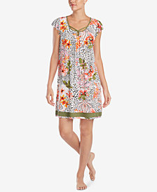 Ellen Tracy Flutter-Sleeve Floral-Print Nightgown