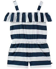 Tommy Hilfiger Big Girls Striped Ruffle-Trim Romper