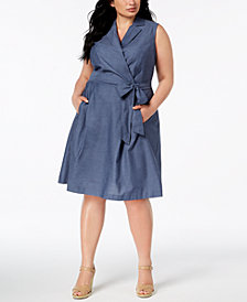 Anne Klein Plus Size Chambray Fit & Flare Dress