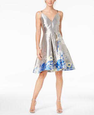 FLORAL-BORDER METALLIC FIT & FLARE DRESS