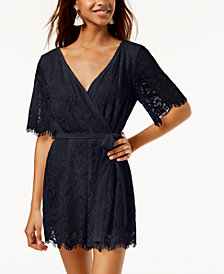 Trixxi Juniors' Surplice Lace Romper