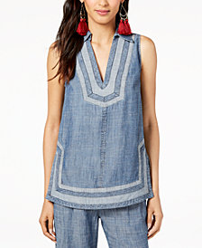 Trina Turk Contrasting-Trim Sleeveless Top