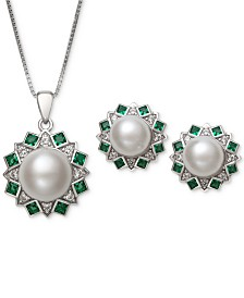 2-Pc. Set Cultured Freshwater Pearl (7,mm, 9mm) and Cubic Zironcia Pendant Necklace and Stud Earrings Set in Sterling Silver