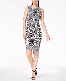 Calvin Klein Mosaic-Print Sheath Dress