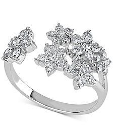 Diamond Flower Cuff Ring (1-1/5 ct. t.w.) in 14k White Gold