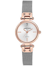 Anne Klein Diamond-Accent Stainless Steel Mesh Bracelet Watch 26mm
