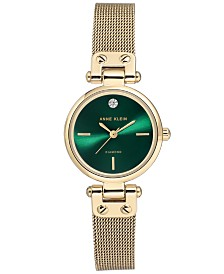 Anne Klein Women's Diamond-Accent Gold-Tone Stainless Steel Mesh Bracelet Watch 26mm