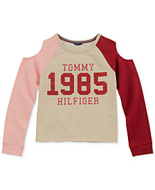 Tommy Hilfiger Big Girls Colorblocked Cold Shoulder Sweatshirt