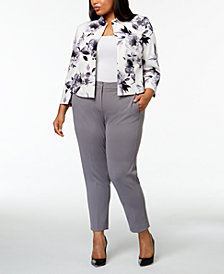 Kasper Plus Size Floral-Print Jacket & Straight-Leg Pants