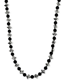"Men's Onyx (4mm) & Celtic Cross 24"" Statement Necklace in Sterling Silver"
