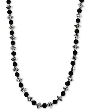 """KING BABY Men'S Onyx (4Mm) & Celtic Cross 24"""" Statement Necklace In Sterling Silver"""
