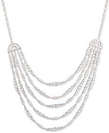 Carolee Silver-Tone Cubic Zirconia Multi-Row Statement Necklace