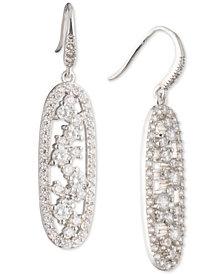 Carolee Silver-Tone Cubic Zirconia Oval Drop Earrings