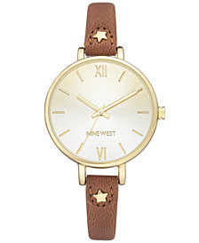Nine West Women's Brown Faux Luggage Leather Strap Watch 41mm