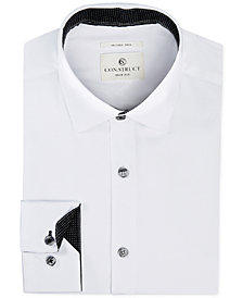 Con.Struct Men's Slim-Fit Stretch White Twill Dress Shirt