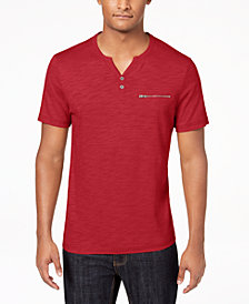 I.N.C. Men's Chambers Heathered Split-Neck T-Shirt, Created for Macy's
