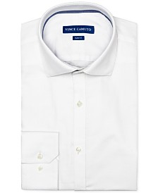 Vince Camuto Men's Slim-Fit Comfort Stretch White Dobby Dress Shirt