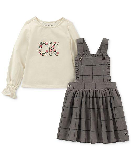 879346640 Calvin Klein Toddler Girls 2-Pc. Long-Sleeve T-Shirt   Flannel ...